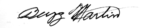 Buzz Martin's signature'