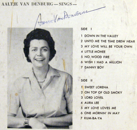 autographed back cover of Down in the Valley LP by Aaltje Van Denburg